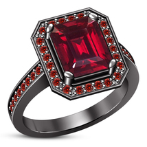 14k Black Gold Fn 925 Sterling Silver Womens Emerald Cut Garnet Engageme... - £60.32 GBP