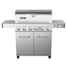 Propane Gas Grill 6-Burner LED Controls Side Burner Rotisserie Kit Stain... - $649.92