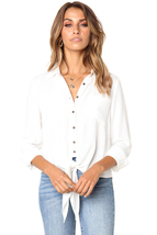 White Crushed Linen Button-Down Casual Shirt  - $19.39