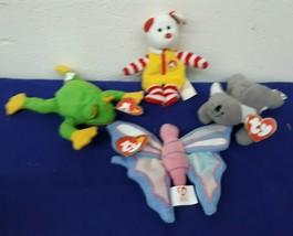 Lot of 4 TY Teenie Beanie Babys McDonalds Bear, Butterfly, Frog, & Bear? - $7.09