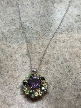 Vintage Mixed Gemstones Choker Necklace 925 Sterling Silver - $122.75