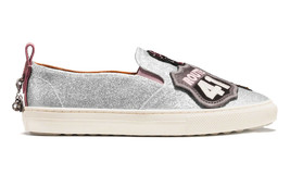 Coach Women's Slip On Skate Shoes Fashion Sneakers C115 Cherry Glitter Silver image 2