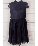 Women's Black Lace Floral Open Back Crop Sleeve Mini Dress Size-Small  (... - $30.82