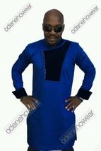 Odeneho Wear Men's Blue Polished Cotton Top/Velvet Design. African Clothing - $79.99