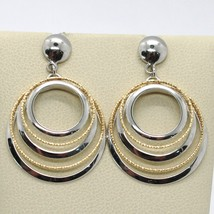 18K YELLOW WHITE GOLD PENDANT EARRINGS ALTERNATE WORKED CIRCLES, MADE IN ITALY image 1
