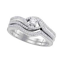 10k White Gold Round Diamond Bridal Wedding Engagement Ring Band Set 3/8 Cttw - $699.00