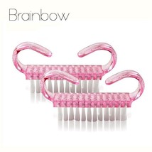 BRAINBOW® 2pcs Pink Plastic Nail Brush Small Size Dust Clean Brush Nail ... - $4.71