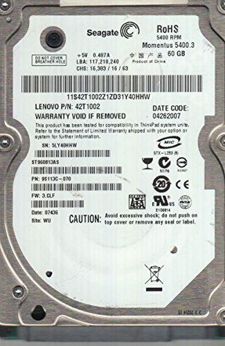 ST960813AS, 5LY, WU, PN 9S113C-070, FW 3.CLF, Seagate 60GB SATA 2.5 Hard Drive