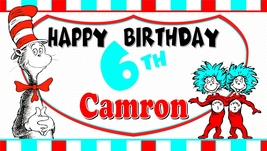 The Cat In The Hat Thing 1 & 2 Stripes -Personalized- Vinyl Birthday Banner - $34.95
