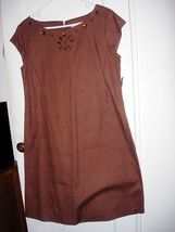 NWT ANOTHER THYME BROWN COTTON DRESS WITH JEWEL... - $12.00