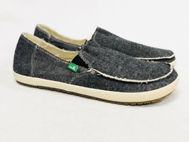 Sanuk Rounder Hobo Tx Sidewalk Surfer Shoes Mens Slip On Loafers Black Chambray - $39.99