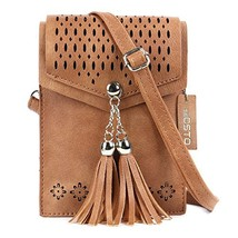 seOSTO Womens Small Crossbody Bag, Tassel Cell Phone Purse Holder Wallet - $15.69