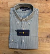 $145 Polo Ralph Lauren Blake Stripe Broadcloth Dress Shirt, Green/White, Size M - $54.44