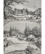 HUNTING Fox by Par Force at Castle Buron France - 1878 Fine Quality Print - $44.96