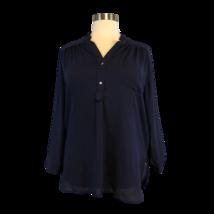 Fervour Women's Draped Henley Longsleeve Sheer Navy Blue Shirt Plus Size 2X - $22.49