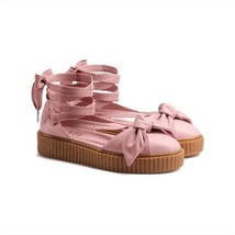 Puma Rihanna FENTY Creeper Pink Leather Bow Long Ankle Leg Laces Sandals NEW - $54.99