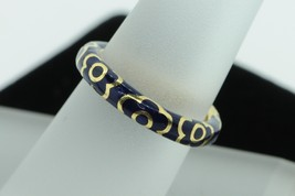 Art Nouveau Style GIOIEL MODA 18K Yellow Gold Blue Enamel Flower Band (S... - $385.00