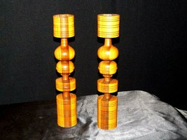 Wooden lay Candle Sticks AA19-1546 Vintage Pair