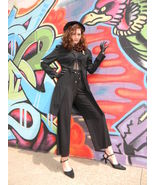 Sexy Black Disco Gangster Jumpsuit outfit sz 8 ... - $129.99