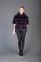 Luxury gift/Purple Racoon  Fur Vest/Fur jacket full skin / Wedding,or an... - $750.00
