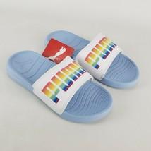 Puma Popcat Lucky Slides Sandals Raindow Logo Blue White Casual Kids Size 2C - $18.33