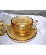 2022  Antique Jeannette Moderne Marigold Iridescent Cup/Saucer - $6.00
