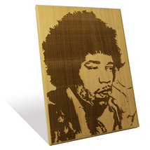 Jimi Hendrix portrait etched on a Wooden Plaque... - $55.00