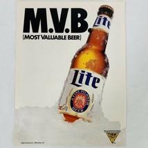 Vintage 1991 Miller Lite Beer MVB Major League Baseball MLB Magazine Ad  - $9.47