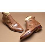 Handmade Men Tan color triple buckle boots, Men ankle high boots, Leathe... - $179.99