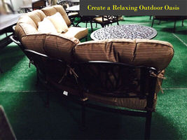 Half moon sofa deep seating outdoor furniture 3pc with table curved bench Bronze image 5