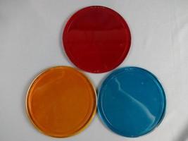 "Vintage Lot Of 3 Railroad Lens Kopp Glass & G.B. Inc 7"" Red Blue Orange - $79.46"