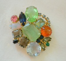 Vintage multicolor rhinestone brooch Juliana? end of day fruit salad siz... - $35.63