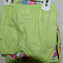 Mon Petit Lime Green Flowered Babydoll Top Bloomers Elastic Headband 24 Month image 3