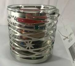 Yankee Candle Silver Metal Christmas Lights Votive Glass Holder Silver S... - $11.13