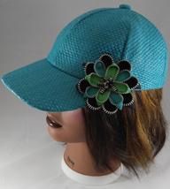 Woman's Aqua Paper Weave Baseball Cap Hat w Zipper Flower Pin Flourish - ₨1,742.13 INR