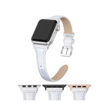 NEW Genuine Silver Leather Apple Watch band, 38mm 40mm 42mm 44mm For Women - $34.99