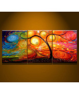 3pcs/set ! Group Canvas Art Handmade Wall Decor Landscape Tree Oil Painting - $104.98