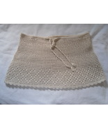 Beach Pool Swimsuit Cover up Crochet Light Beige Skirt Girls Handmade Peru NEW - $8.00