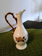 Vintage Lovely White and Gold Hand Painted Roses Pitcher Signed Donker Pitcher image 5