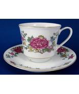 Cup And Saucer Peonies Porcelain Gold Trim - $12.00