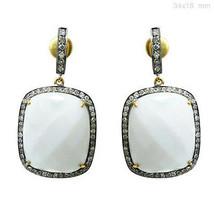 Onyx Gemstone Dangle Earrings 14k Gold Pave Diamond Sterling Silver Vintage Look - $623.05