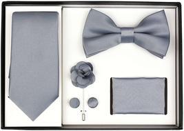 Berlioni Men's Handmade Microfiber Tie Bowtie Lapel Hanky Cufflinks Gift Box Set image 11