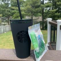 Starbucks Tumbler Matte Black  Logo Cold Cup 16oz Grande! Emerald Inside... - $34.64
