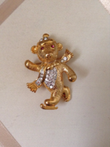 Vintage Gold Tone Crystal Rhinestone Ice Skating Bear Holiday Fashion Brooch - $25.00