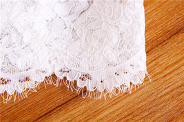 Off Shoulder Long Sleeve Lace Crop Tops Wedding Bridesmaid V-neck Lace Crop Tops image 4