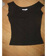 Ladies Black Charlotte Russe Size M Tank T Shirt Stretch Knit Top Side T... - $12.99