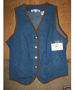 LADIES Preston York Sport Indigo Blue Jean Vest... - $9.99