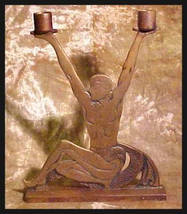 Rare Antique Art Deco Male Double Candle Holder Valentino Lawrence of Ar... - $200.00