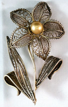 Antique Hand Made Silver Wire Brooch Flower with Faux Pearl - $25.99