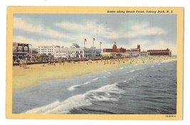 Asbury Park NJ Scene on Beach Front Vintage 1948 Linen Postcard - $4.99